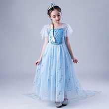 snow queen2 girls   Elsa and Anna princess dress halloween birthday princess costume  princess cosplay Christmas holiday dress froz 2en cosplay costume snow girl elsa dress costume halloween cosplay elsa anna costume princess ice queen outfit full set