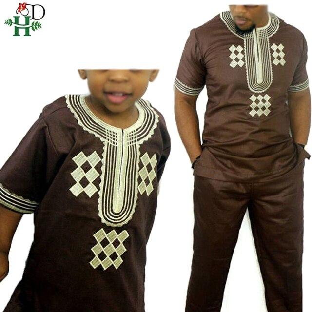 H & D T 셔츠 남성용 2 개 세트 Kids Boys 아프리카 대시키 히피 옷 아버지 아들 Bazin Riche 자수 탑 바지 정장 가운