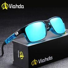 Viahda polarizado óculos de sol para homem condução marca de moda desinger óculos de sol para homem feminino espelho quadrado