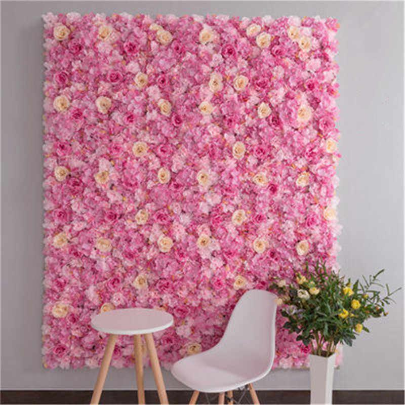 Parede da flor 40x60cm seda rosa flores artificiais pano de fundo fotografia do casamento backdrops para decoração do casamento decoração do chuveiro do bebê