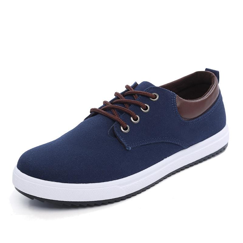 Ayakk.'ten Erkek Rahat Ayakkabılar'de Erkekler rahat ayakkabılar Tuval Mavi/siyah/gri erkek ayakkabısı 2019 Artı Boyutu EU38 45 Dantel Up Sneakers Erkekler'da  Grup 1
