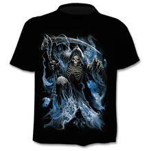 Funny denim effect men's T-shirt scary skull top 3D round neck short sleeve punk style rock street wear