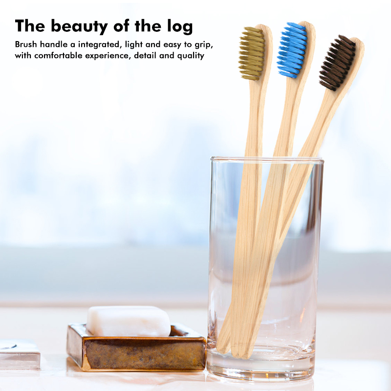4color Bamboo Toothbrush Eco-friendly Bamboo Charcoal Household Soft Tooth Toothbrush Hotel Wooden Handle Cleaning Toothbrush