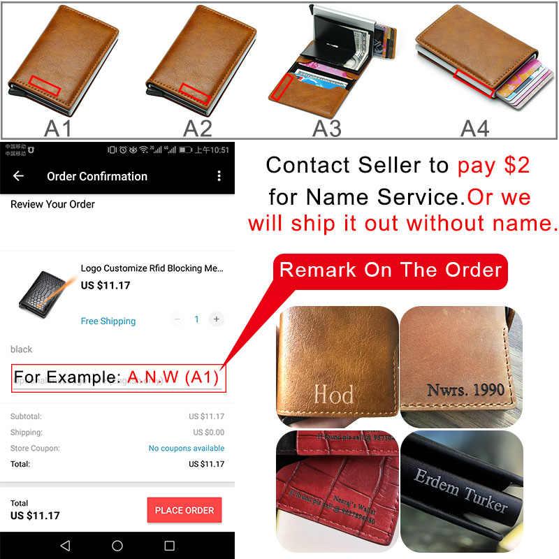 DIENQI RFID คาร์บอนไฟเบอร์หนังบัตรเครดิตผู้ถือโลหะอลูมิเนียม Slim ความปลอดภัย Minimalist กระเป๋าสตางค์ Creditcard Pocket สำหรับชาย