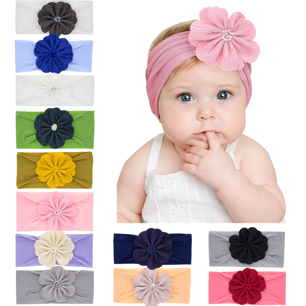 Baby Headband Turban Flower Newborn Baby Girl Headbands Elastic Kids Toddler Hair Band Hairbands Baby Hair Accessories