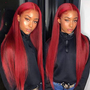 Burgundy Lace Front Human Hair Wigs Red Human Hair Wig 99J 360 Lace Frontal Wig Pre Plucked Full Lace Human Hair Wigs Colored(China)