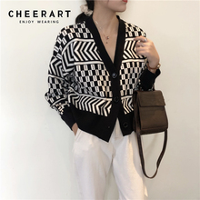 CHEERART Vintage Cardigan Women V Neck Plaid Knitted Sweater Long Sleeve Knit Top Black White Femme