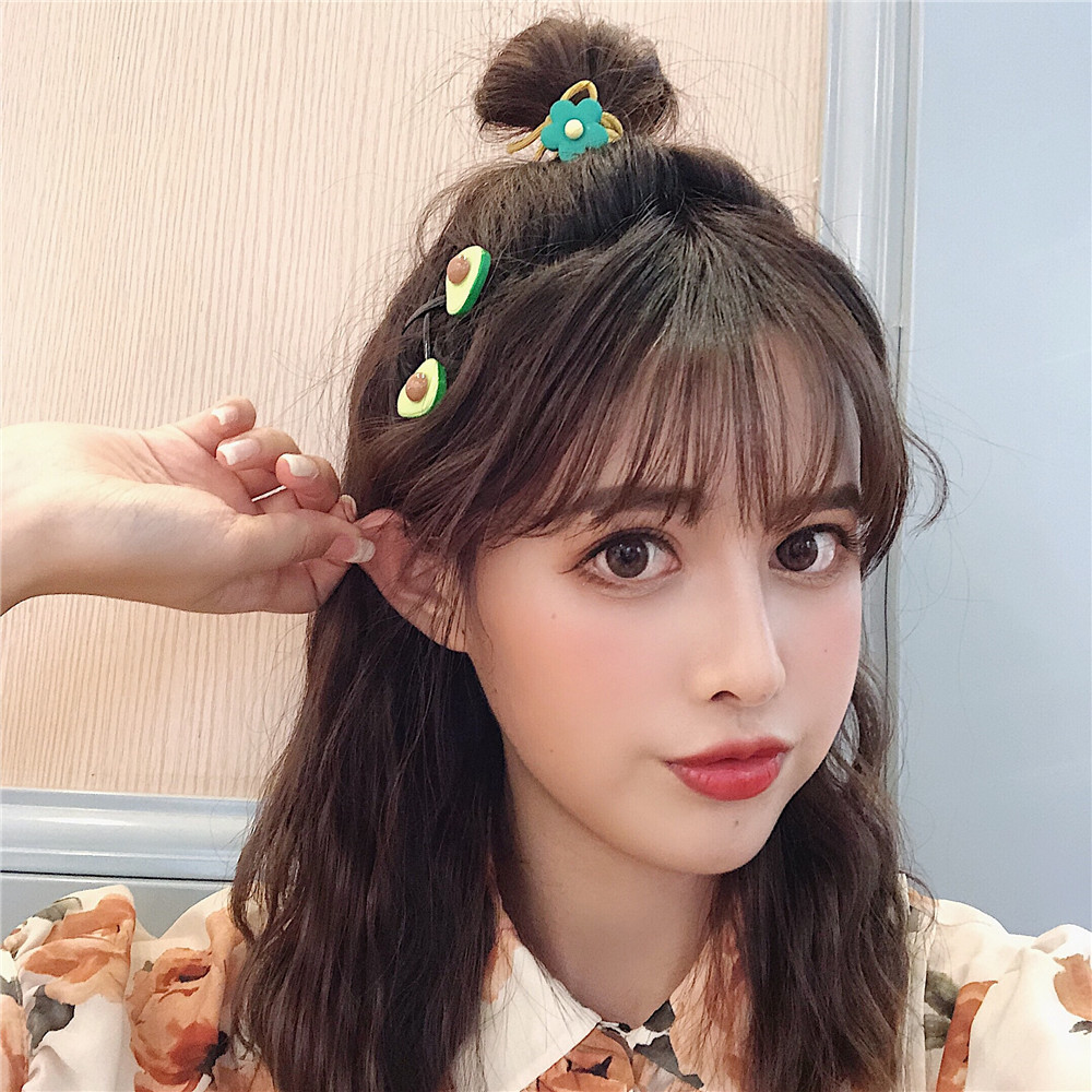 US $11.11 11% OFFCute Korean Hair Clip for Girls Hair Accessories Avocado  Green Hairpin Set Women Ins Fruit Hair Rope Headdress Barrette  PrincessHair