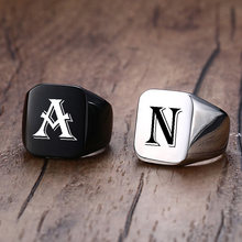 Vnox Chunky 18mm Initial Signet Ring for Men, Punk Rock Vintage Square Top Band, Stainless Steel Bold Metal 26 Letters Alphabet