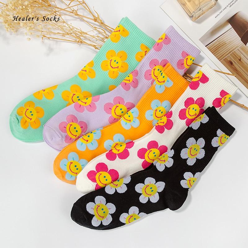 2020 New Fashion Men And Women Socks Cotton Color Sunflower Harajuku Skateboard Hip Hop Cute Funny Happy Casual Girl Tube Socks
