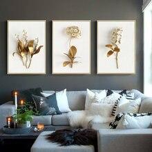 Картина на холсте Золотая лиловая Орхидея гиацинта тюльпан растительный