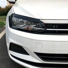 Для Volkswagen Polo MK6+ брови для головных фар наклейки на веки ABS Накладка аксессуары для стайлинга автомобилей