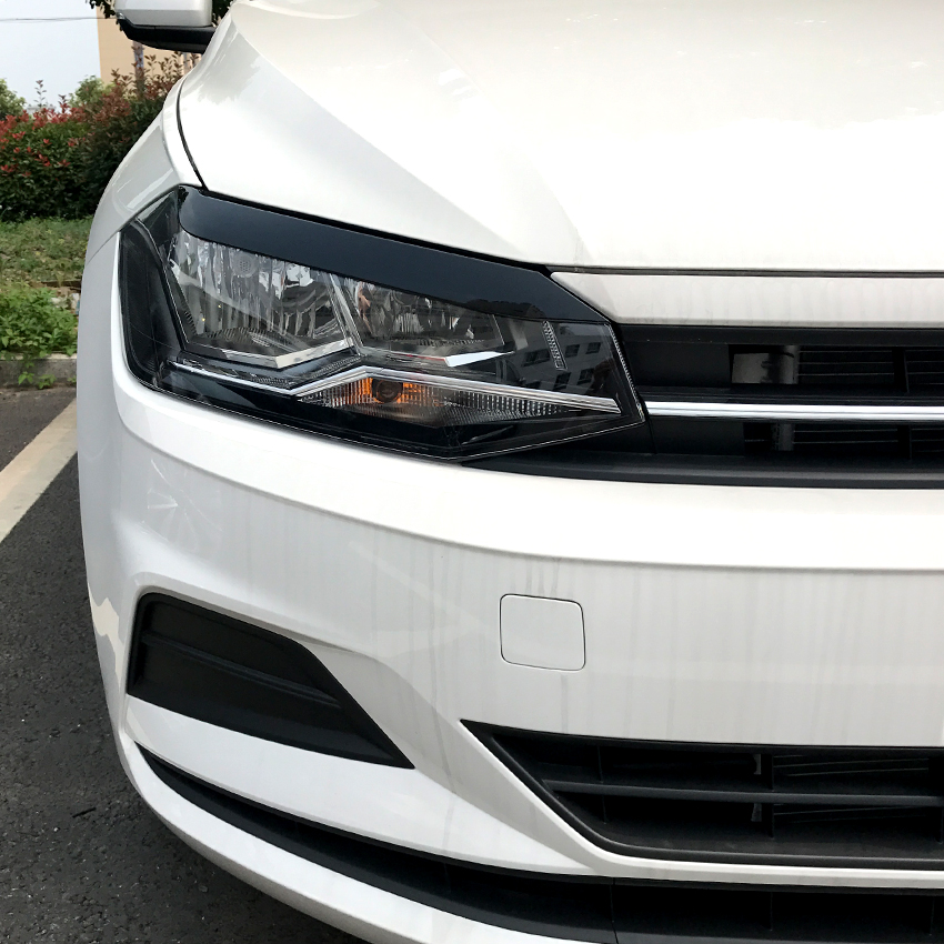 For Volkswagen Polo MK6 2019  Headlights Eyebrow Eyelids Stickers ABS Trim Cover Accessories Car Styling