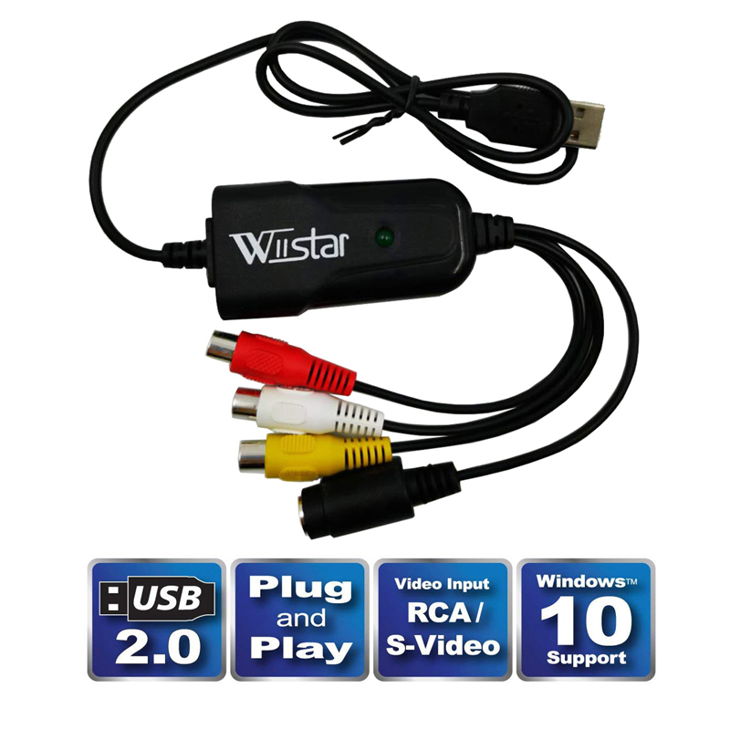 New USB 2.0 Audio Video Capture Card Easy to cap Adapter VHS to DVD Video Capture for Windows 10/8/7/XP Capture Video