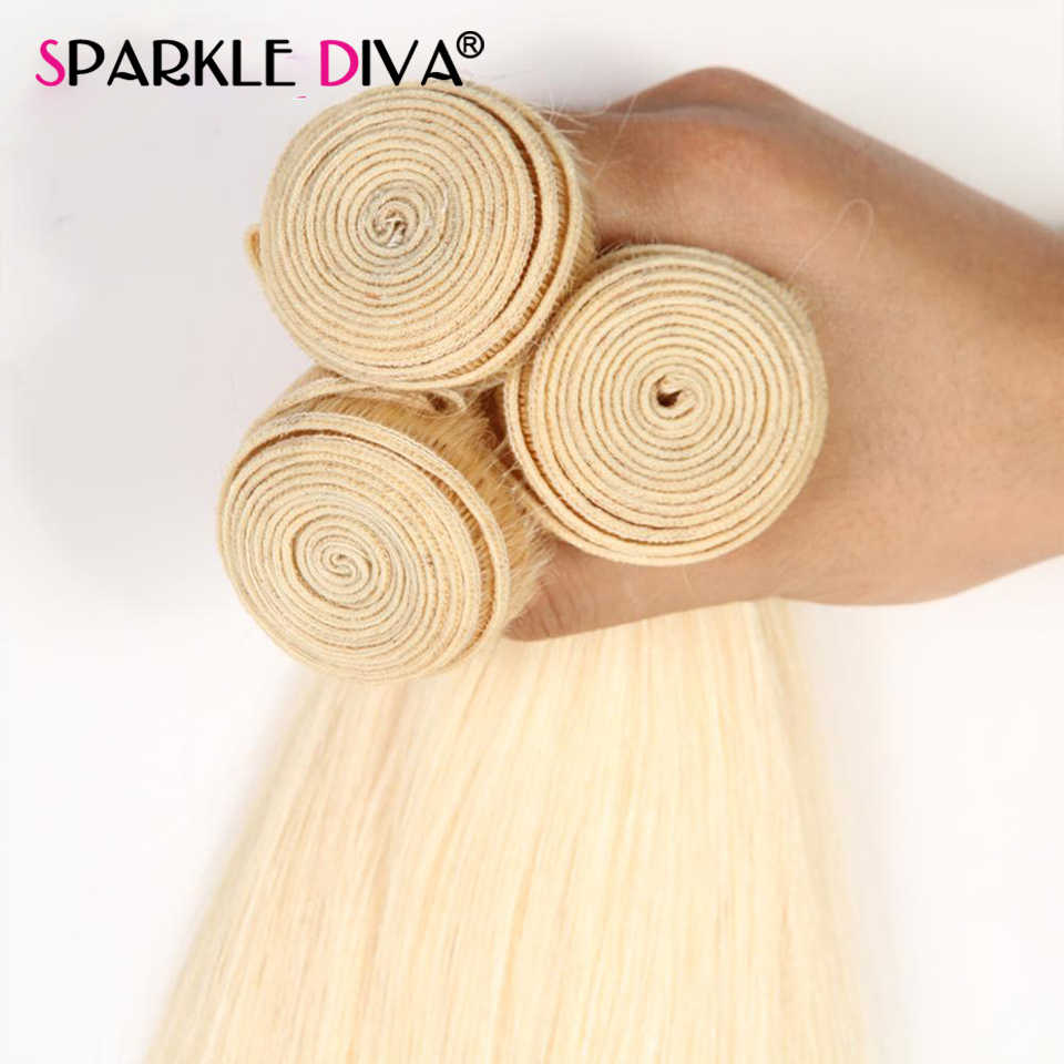 Mechones de pelo brasileño de 8-40 pulgadas, extensiones 100% de cabello humano mechones de pelo humano 613 Rubio, extensión de cabello 613 Remy, Rubio
