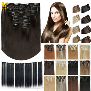 CHARMING Hair Synthetic 16 Clips In Hair extension 60cm 24 Inch Long Straight Hair Fake False Hairpiece Clip In Hair Extension