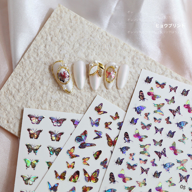 9 blatt Aufkleber für Nägel Aufkleber DIY Slider für Maniküre Holographische Schmetterlinge Design Nagel Kunst Aufkleber Wasserzeichen Maniküre Decor