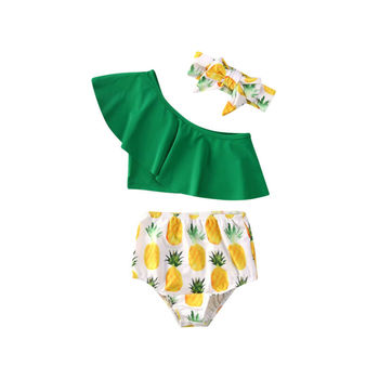 2020 letnie dzieci strój kąpielowy maluch dziewczynka stroje kąpielowe ananas łuk Bikini pływanie topy z jednym ramieniem wysokiej talii dół pałąk tanie i dobre opinie Pasuje prawda na wymiar weź swój normalny rozmiar Dziewczyny COTTON Stałe