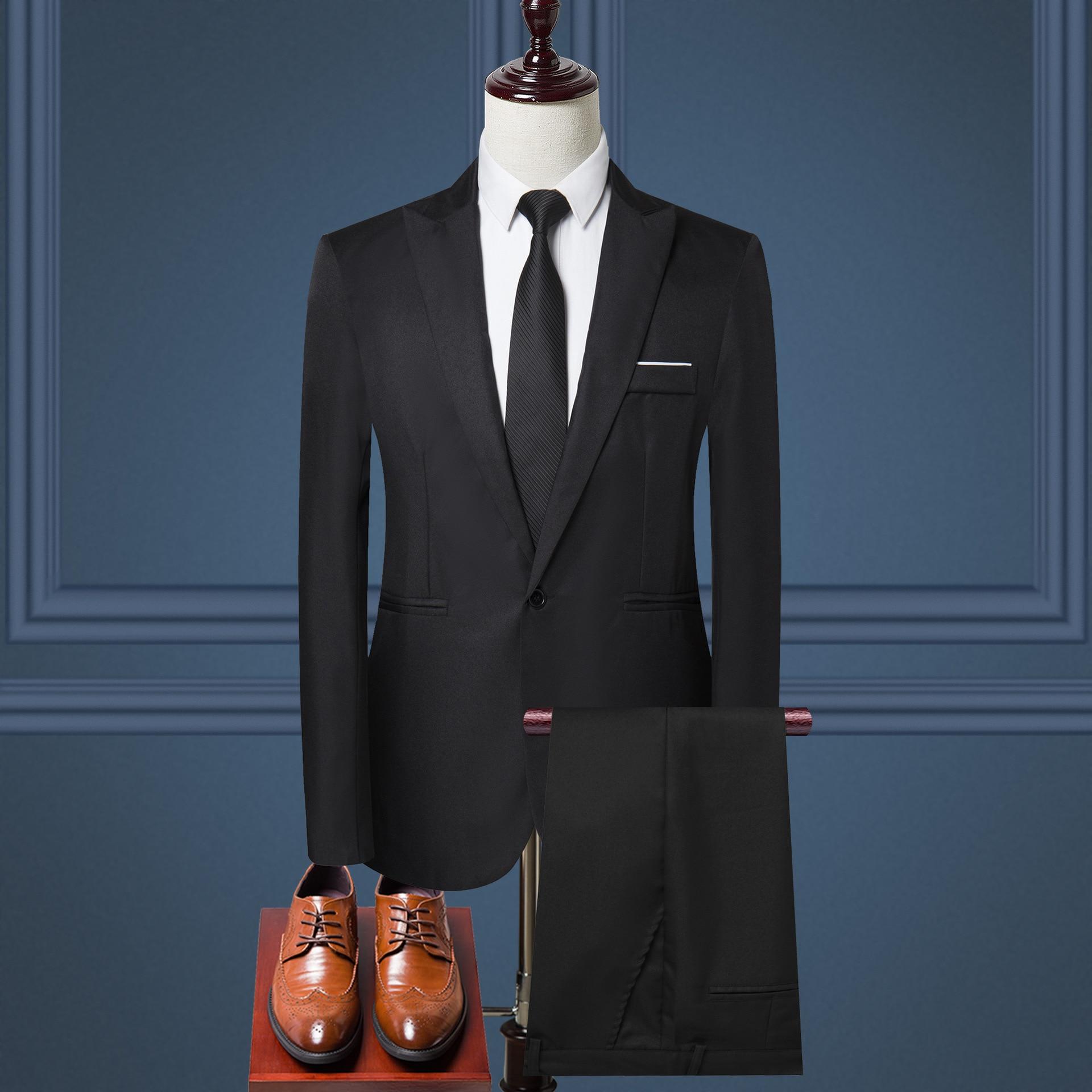 Men's Suit Two -piece Black Navy Suits Men Brand Slim Fit Groom Wedding Suit Korean Jacket Pants Trousers