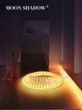 MOONSHADOW – bande lumineuse étanche, SMD 5050, néon Super brillant pour la lumière de la pièce, multicolore + caoutchouc retardateur, prise ue 220V