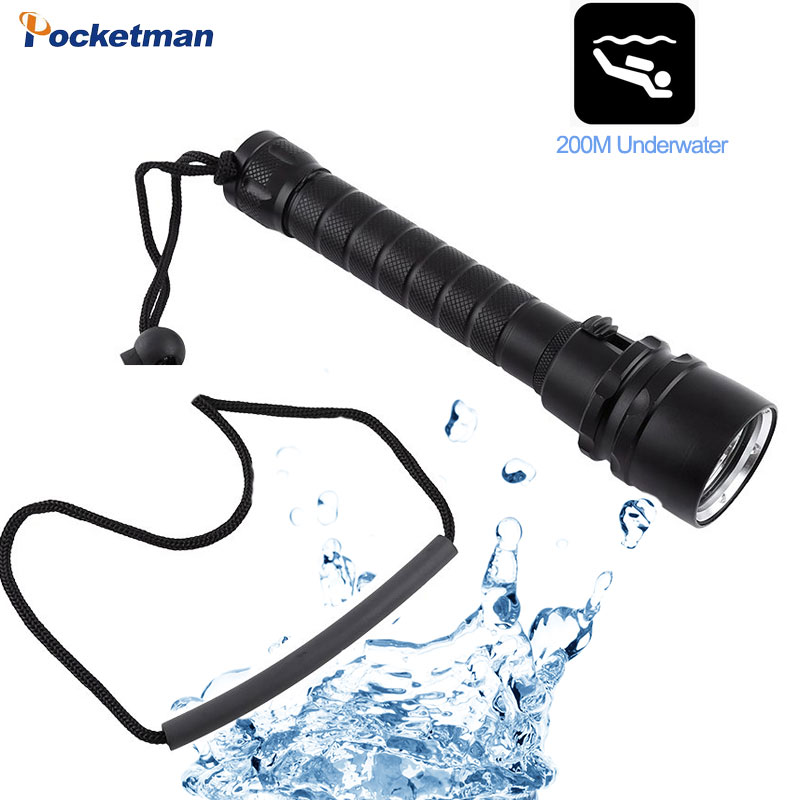 Diving Flashlight T6  Diving Torch UnderWater 220m Depth Waterproof LED Flashlights Lantern Light Swimming Light