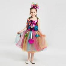 Красочное платье пачка для девочек Радужный наряд в виде леденцов