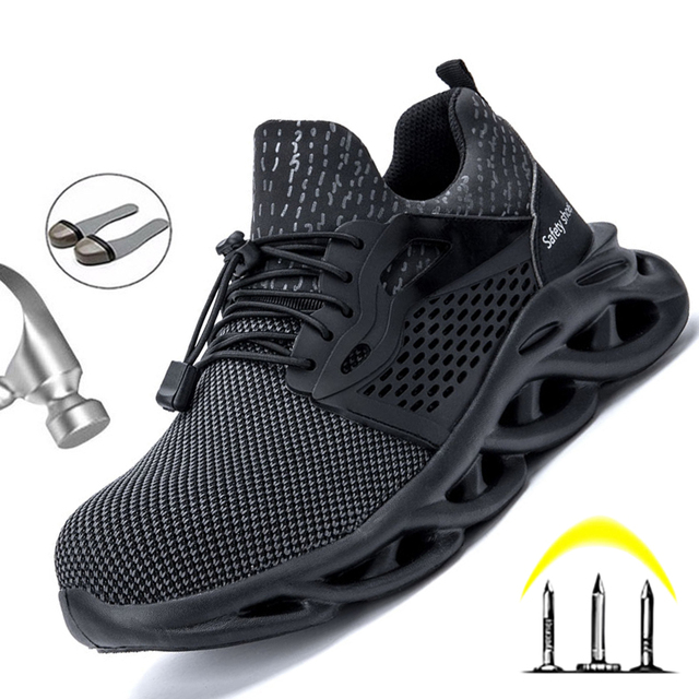 Dropshipping Men Safety Shoes Steel Toe Cap Work Sneakers Men Boots Plus Size 36-48 Breathable Outdoor Work Shoes Men Footwear 3
