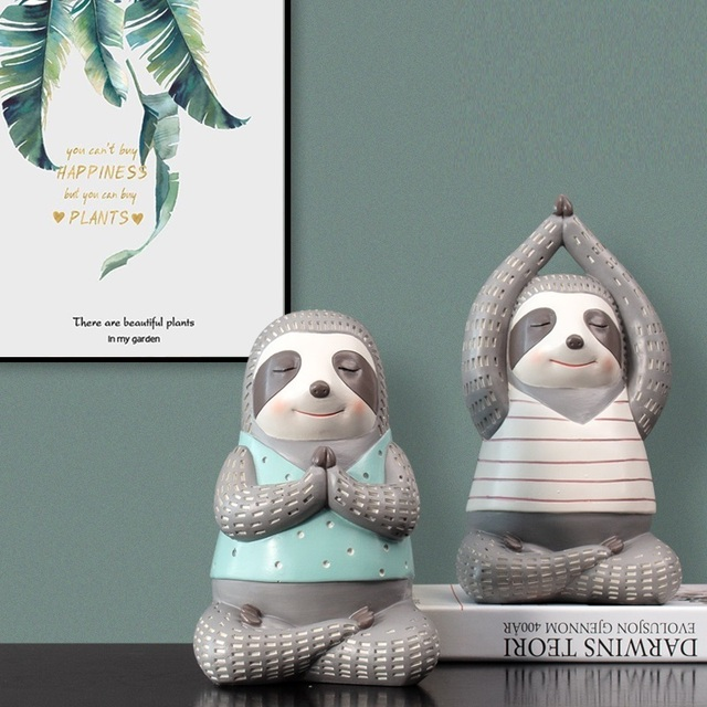 Yoga Sloth Statue Home Decor Chindren Room Ornament Lovely Animal Sculpture Nordic Style Decoration 2
