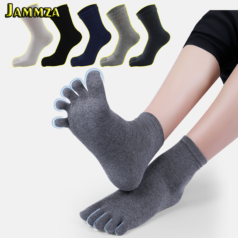 5 Pairs/Lot Solid White Black Gray Men Toe Socks Bamboo Fiber High Quality Male Summer Winter Cotton Socks Five / 5 Finger Socks