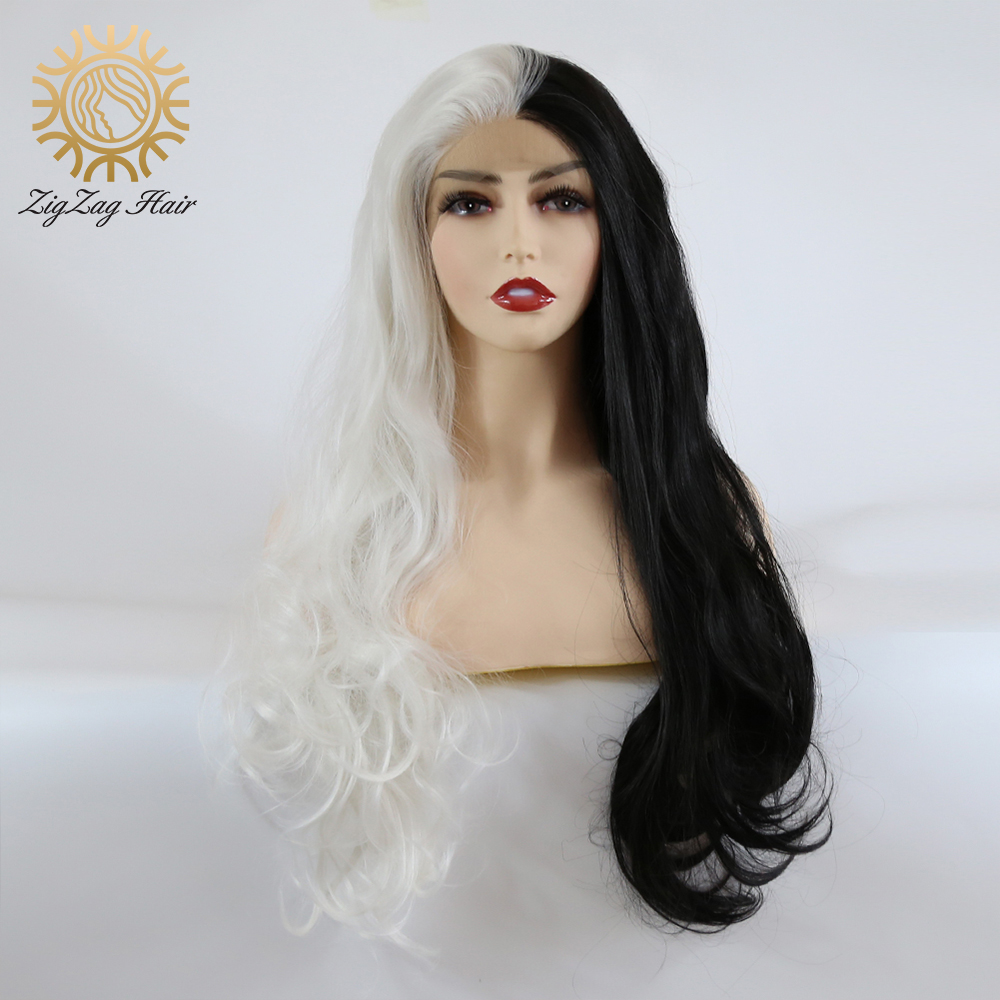ZigZag Half White Half Black Wavy Synthetic Lace Front Wigs for Women Natural Long 13x3 Hand Tied Lace Cosplay Wig Middle Part