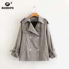 ROHOPO Asymmetric Double Buttons Thin Striped Pladid Trench Coat Vintage British Autumn Female Grey Windbreaker #7124