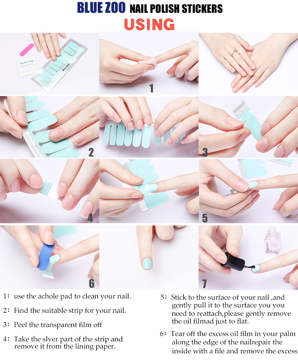 Manicure Nail art nail stickers glitter set 4 stickers 4 alcohol cotton nails 20 stickers nail stickers nail tools in Stickers Decals from Beauty Health