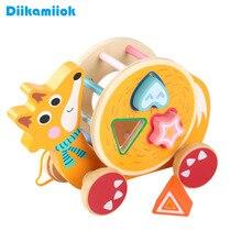 Building-Blocks Educational-Toys Animal-Trailer Wood Children for Cognitive Toy-Shape