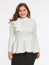 2019 New Plus Size Women Elegant Ruffles Blouse Back Zipper Up Office Ladies Stand Collar Winter Peplum Tops Big XXXL