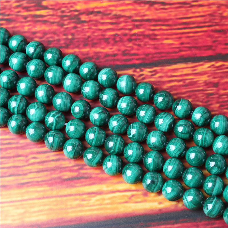 Malachite Natural Stone Bead Round Loose Spaced Beads 15 Inch Strand 4/6/8 / 10mm For Jewelry Making DIY Bracelet Necklace