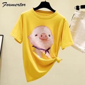 Image 1 - 夏のファッションの女性の tシャツ半袖コットンシャツ 2020 新 o ネック柄カジュアルルーズ大サイズの女性の tシャツ