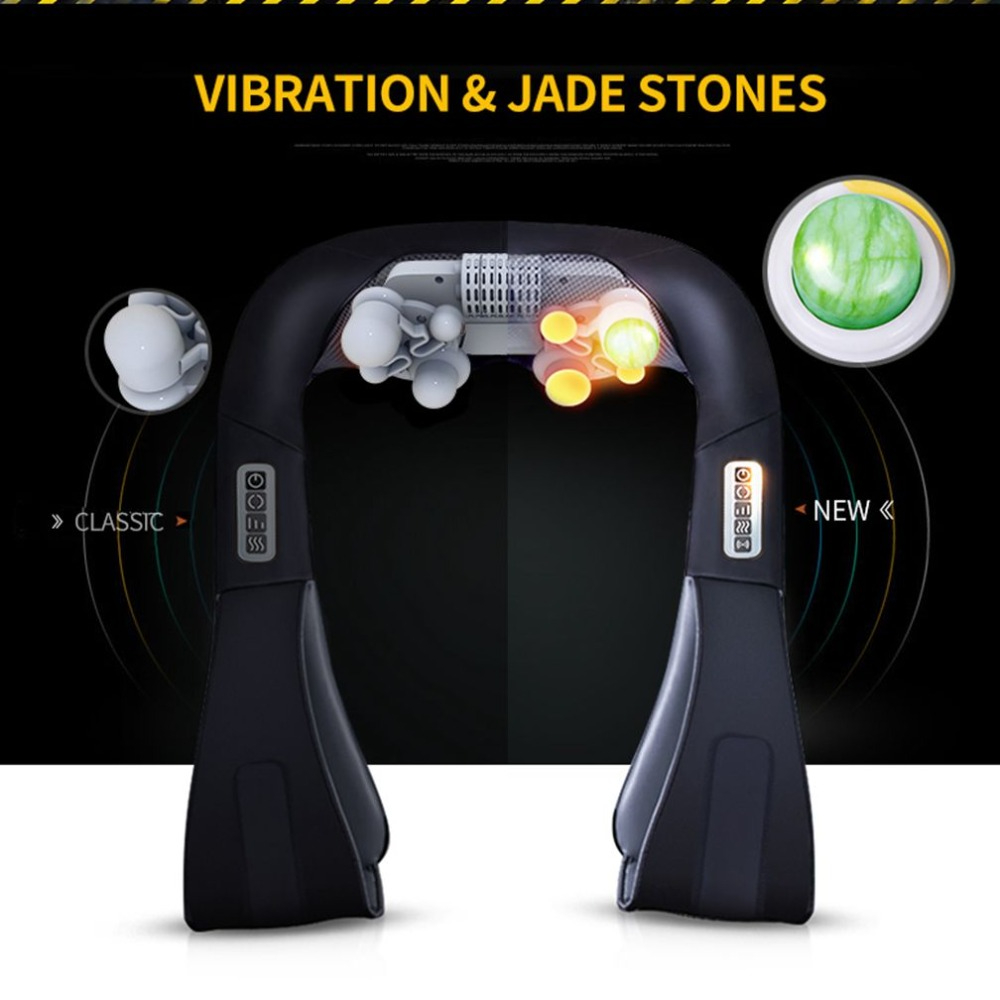JinKaiRui Multifunction U Shape Electrical Shiatsu Back Neck Shoulder Massager Vibration Jade Infrared Heating Massage Shawl