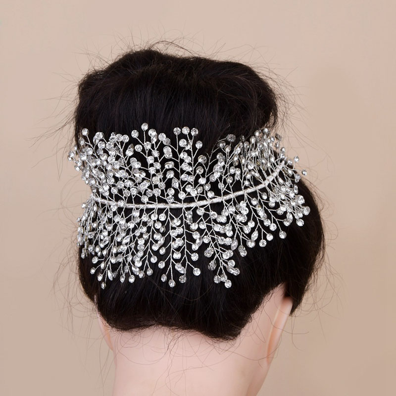 SLBRIDAL Handmade Luxury Crystal Rhinestones Wedding Tiara Headband Bridal Princess Royal Crown Hair Accessories Women Jewelry in Hair Jewelry from Jewelry Accessories
