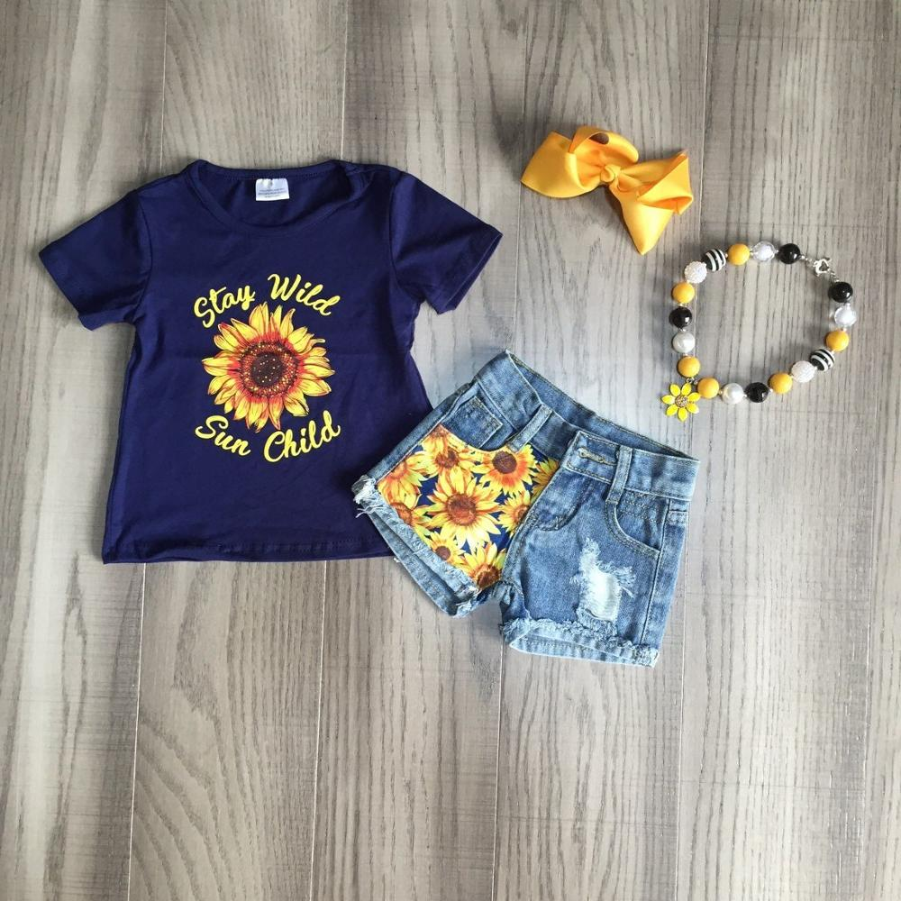 Baby Girls Summer Jeans Outfits Girl Sunflower Print Shirts Girls Boutique Denim Outfits With Accessories