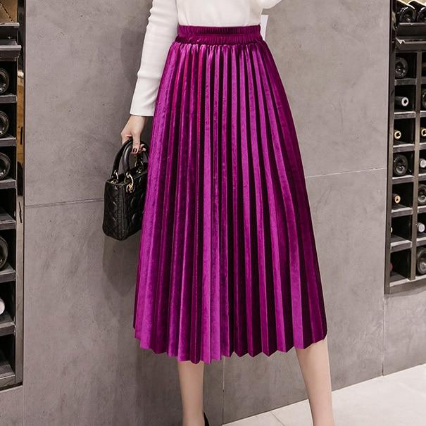 2020 Autumn Winter Velvet Skirt High Waisted Skinny Large Swing Long Pleated Skirts Metallic Plus Size Faldas Saia Fashion Femal