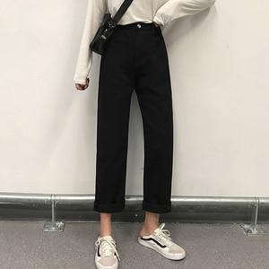 Image 4 - Quần Jeans Nữ Bông Tai Kẹp Chắc Chắn Nút Khóa Dây Kéo Cao Cấp Giải Trí Thẳng Nữ Nữ Thanh Lịch Quần Jean Femme Chất Lượng Cao