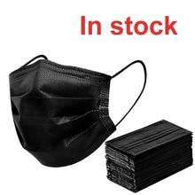 Free shipping Black 3-layer Mask 10/20/50/100pcs Face Mouth Masks Melt Blown Cloth Disposable Anti-Dust Masks Earloops Masks