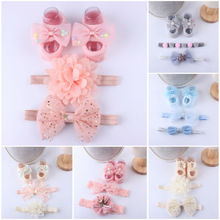 Baby Cute girl Rhinestone/pearl Boutique rosset shoes Floral zapatos bebe Headband and Barefoot Shoes set retail