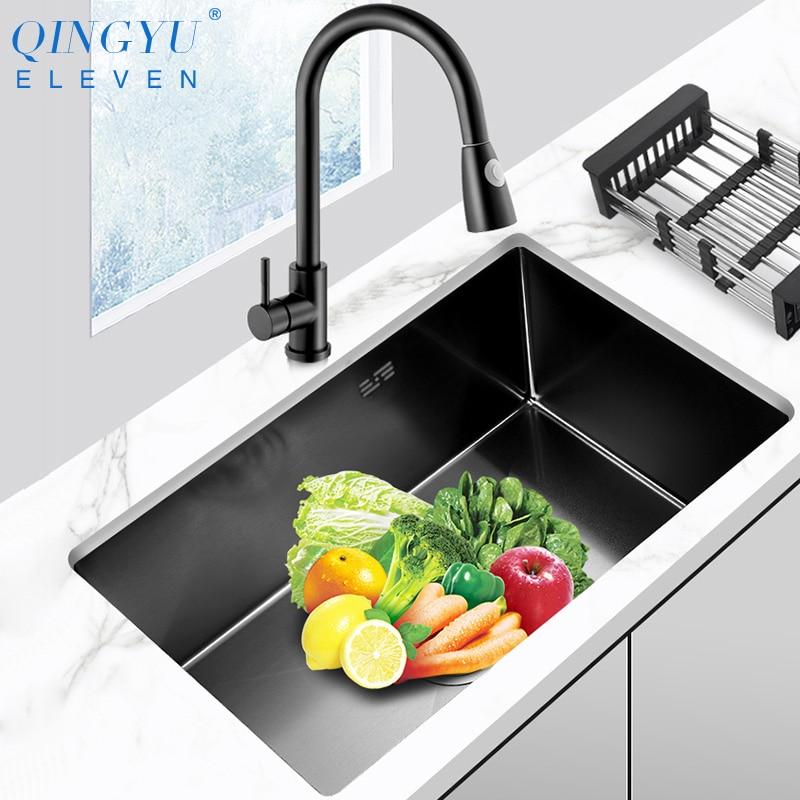 Kitchen Sink Nanometer Antibacterial Black 304 Stainless Steel Single Kitchen Sink Drain Basket And Drain Pipe Free Shipping