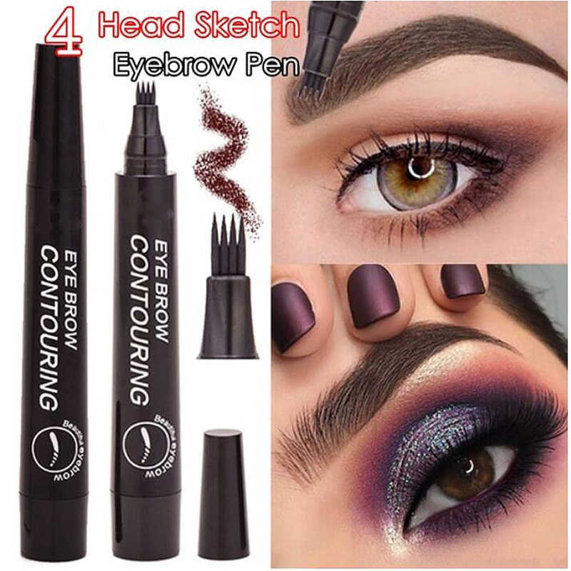 Natural 5-Color Microblading Eyebrow Tattoo Pen with 4 Micro Tips Sketch Liquid Eyebrow Pencil Waterproof Eyebrow Pomade TSLM2