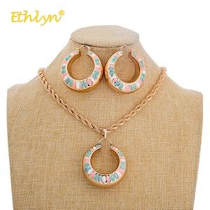 Ethlyn нигерийское ожерелье комплект ювелирных изделий Полые Круглые красочные большие серьги кулон для женщин модные свадебные ювелирные на...