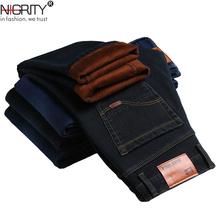 NIGRITY 2019 zimowe męskie ciepłe dżinsy z polarem Stretch Casual proste grube spodnie jeansowe flanelowe spodnie miękkie spodnie Plus rozmiar 28-44 tanie tanio Zipper fly Moustache Effect Średni Małpa Mycia Smart Casual Pełnej długości Denim NONE Stałe Jeans 1 Mężczyźni