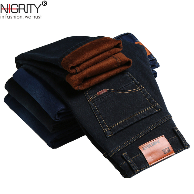 NIGRITY 2020 Winter Mens Warm Fleece Jeans Stretch Casual Straight Thick Denim Flannel Jeans Soft Pant Trousers Plus Size 28 44