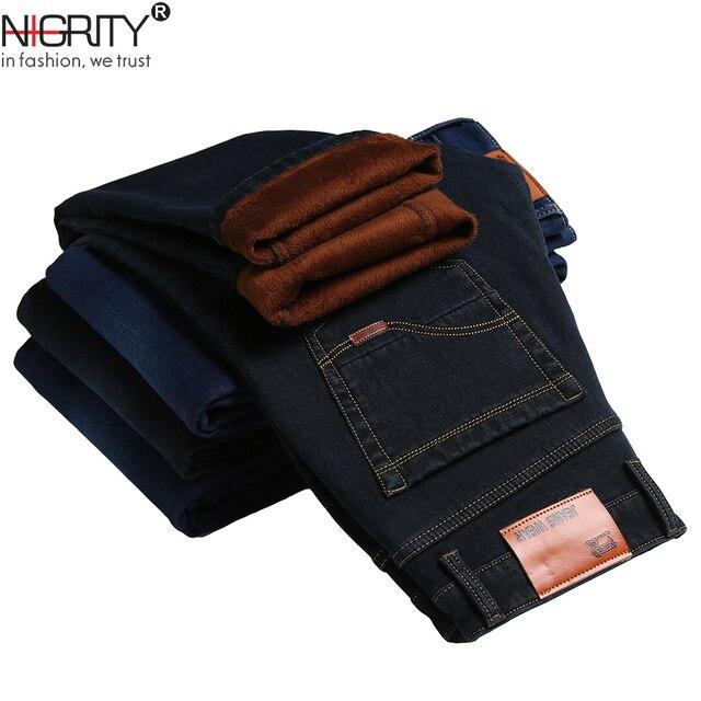 NIGRITY 2020 hiver hommes chaud polaire jean Stretch décontracté droit épais Denim flanelle jean doux pantalon grande taille 28 44