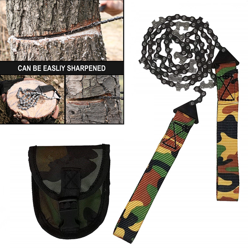 Outdoor Pocket Chainsaw Chain Folding Hand Saw Tool For SurvivalGear Camping Hunting Tree Cutting Emergency Kit Outdoor Survival